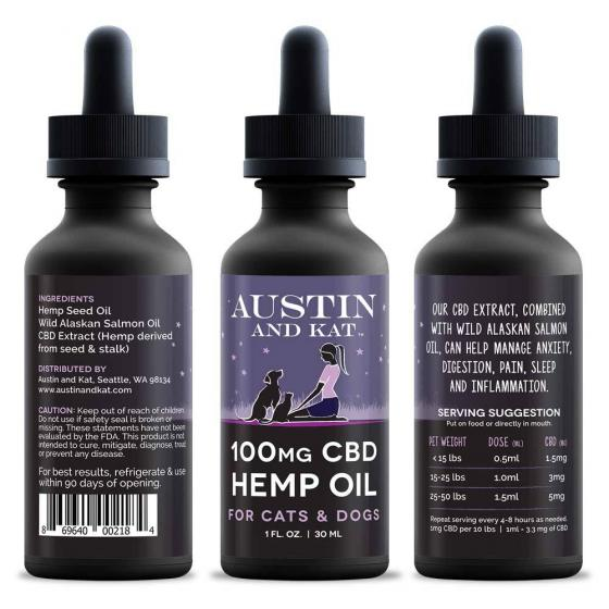 100mg CBD Hemp & Wild Salmon Oil for Dogs and Cats